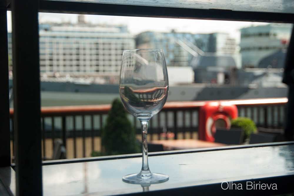 Wine glass on the embankment